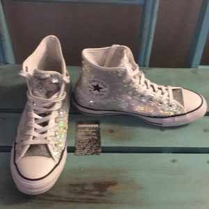 Converse Shoes - 🎀🆕Converse All-Star Silver Sequined High Tops🎀